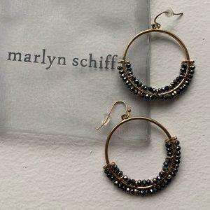 New Marlyn Schiff Antique Gold Hoop Earrings